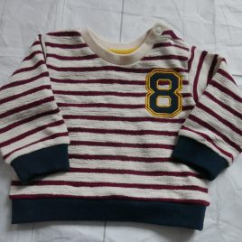 Burgundy& cream knitted jumper 0-3 months