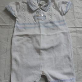Dani Exclusive Design white & blue knitted romper outfit 0-3 months