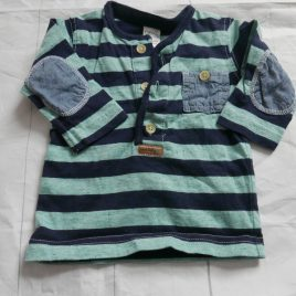 Next navy & green stripy top 0-3 months