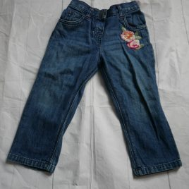 Monsoon embroidered flower jeans 18-24 months