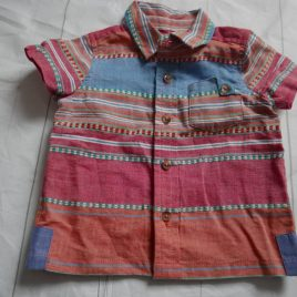 Pink & blue short sleeved shirt 3-6 months