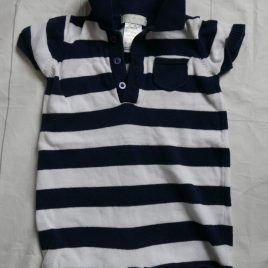 White & navy knitted romper 3-6 months