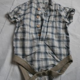 Brown checked shirt bodysuit 3-6 months