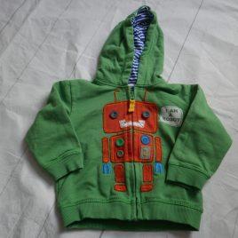 M&S green robot hoodie 6-9 months