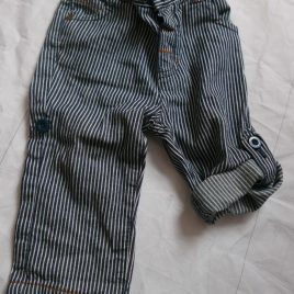 Navy & white roll up leg trousers 6-9 months