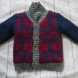 Navy & Red fluffy lined cardigan 9-12 months