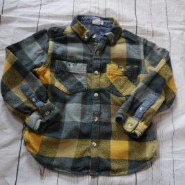 Yellow, grey & black checked shirt 4-5 years