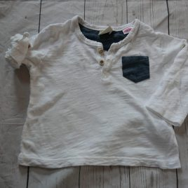 Zara white top with roll up sleeved 3-6 months