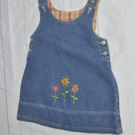 Denim flowers pinafore dress 18-24 months