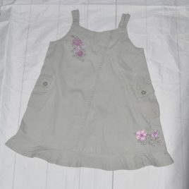 Khaki flowers pinafore dress 2-3 years
