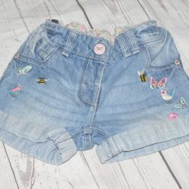 Next denim shorts embroidered with bees, butterflies & birds 2-3 years