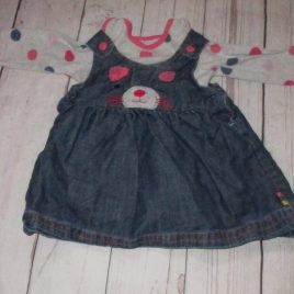 Next long sleeve bodysuit & mouse pinafore outfit 0-3 months