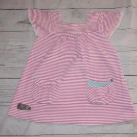 Joules pink stripy dress 2-3 years